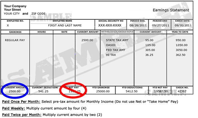 car loan paycheck example